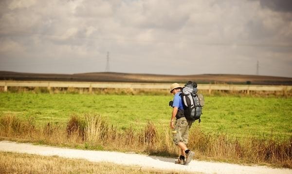 Pilgrim walking alone