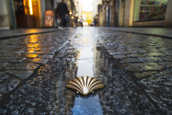 Images of Compostela streets on a rainy day