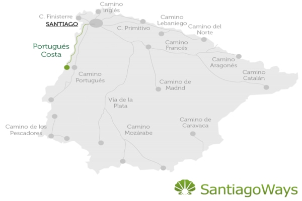 Map of the Camino Portugues on the Coast