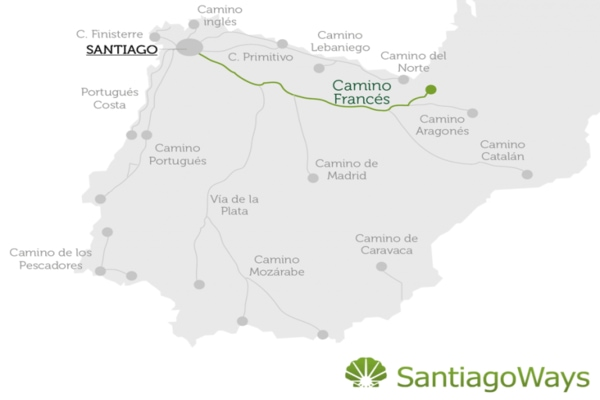 Map of the Camino Frances