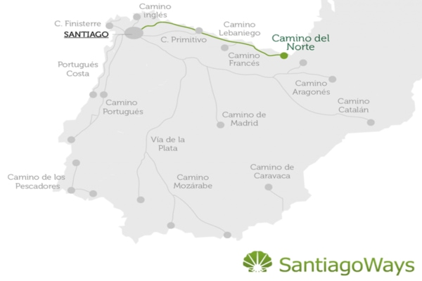 Map of the Camino del Norte