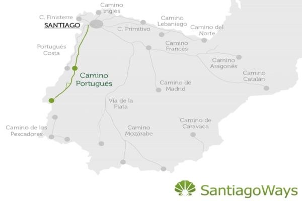 Map of the Camino Portugues central route