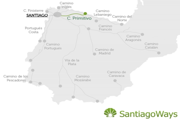 Map of the Camino Primitivo