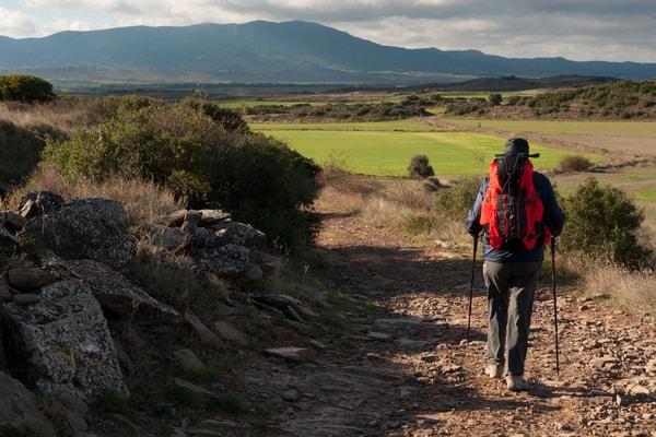 Pilgrim in one of the stages of the Camino de Santiago Aragones