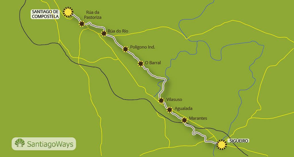 Map from Sigüeiro to Santiago de Compostela