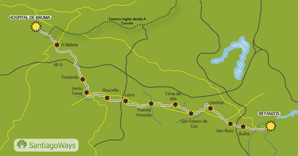 Karte abschnitt Betanzos - Bruma Meson do Vento